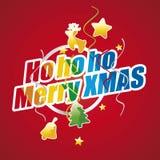 Ho ho ho Merry Christmas colorful red. Logo vector Stock Photos