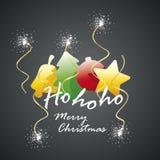 Ho ho ho Merry Christmas elements spark firework. Vector Stock Images
