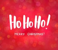 Ho-ho-ho and Merry Christmas text, hand drawn lettering. Blurred background with bokeh effect. Great for Christmas, New. Ho-ho-ho and Merry Christmas text, hand Royalty Free Illustration