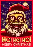 Ho ho ho! Weihnachtsvektorillustration, fettes Bauchlachen Weinleseweihnachtsmanns Lizenzfreie Stockfotos