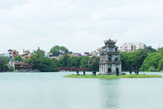 Ho Hoan Kiem, Hanoi, Vietnam. Ho Hoan Kiem, the little lake in the old part of Hanoi, Vietnam, with the Tortoise Tower in the foreground and Den Ngoc Son, the Royalty Free Stock Image