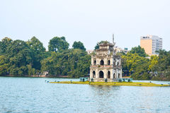 Ho Hoan Kiem of Hanoi, Vietnam, with the Tortoise Tower- is the symbol of Hanoi,Vietnam Royalty Free Stock Image