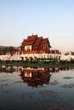 Ho kham luang chiang mai. Ho Kham Luang, Chiang Mai in the evening with beautiful flowers Royalty Free Stock Images