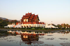 Ho kham luang chiang mai. Ho Kham Luang, Chiang Mai in the evening with beautiful flowers Royalty Free Stock Image
