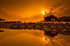 Ho Kham Luang in de zonsondergang Royalty-vrije Stock Afbeeldingen