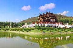 Ho Kham Luang på kungliga Flora Expo, traditionell thai arkitektur Fotografering för Bildbyråer