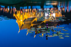 Ho Kham Luang reflected in a pond. Stock Images