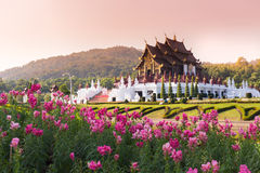 Ho Kham Luang at Royal Flora Expo, traditional thai architecture Stock Photos