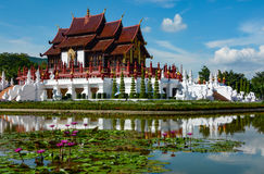 Ho Kham Luang Royal Pavilion and water lily pond at Royal Park Rajapruek in Chiang Mai, Thailand Stock Photos