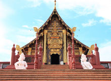 Ho Kham Royal Pavilion at Royal Flora Ratchapruek. Chiang Mai, Thailand. The building featured Lanna architecture, the architectural style of northern Thailand Royalty Free Stock Photo