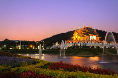 Ho kum luang northern thai style building in Royal Flora temple Royalty Free Stock Image