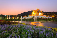 Ho kum luang northern thai style building in Royal Flora temple Royalty Free Stock Photography