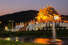 Ho kum luang northern thai style building in Royal Flora temple Royalty Free Stock Photos