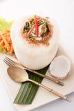 Ho la nourriture thaïlandaise de Mok a cuit la crème à la vapeur de fruits de mer, fruits de mer de cari mélangés Images libres de droits