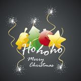 Ho ho ho les éléments de Joyeux Noël étincellent le feu d'artifice Images stock