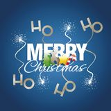 Ho ho ho Merry Christmas color elements spark firework blue. Ho ho ho Merry Christmas color elements tree deer star candy spark firework blue Royalty Free Stock Photography
