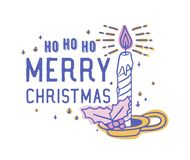 Ho Ho Ho Merry Christmas text som är handskriven med den calligraphic stilsorten och dekorerar, genom att bränna stearinljuset i  stock illustrationer