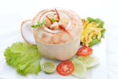 (Ho Mok) Thai food steamed seafood custard , curry seafood mixed Royalty Free Stock Photo