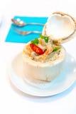 Ho mok, thailändsk kryddig mat i ung kokosnöt Royaltyfria Foton