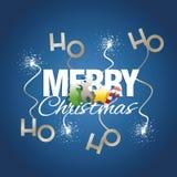 Ho ho ho os elementos de cor do Feliz Natal acendem o azul do fogo de artifício ilustração do vetor