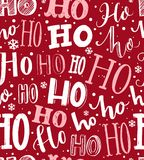 Ho ho ho pattern. Funny christmas background for gift wrapping. White lettering and hand drawn snow on red background. Santa Claus laugh Royalty Free Stock Images