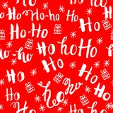 Ho pattern with snowflakes. Seamless christmas pattern. Hand drawn lettering on red background royalty free stock image