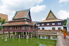 Ho Trai - Traditional Thai-style building used as a library that houses Buddhist scriptures Tripitakal at Wat Mahathat Temple. Yasothon, Thailand - May 2017: Ho Stock Image