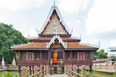 Ho Trai - Traditional Thai-style building used as a library that houses Buddhist scriptures Tripitakal at Wat Mahathat Temple. Yasothon, Thailand - May 2017 Royalty Free Stock Image