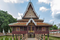 Ho Trai - Traditional Thai-style building used as a library that houses Buddhist scriptures Tripitakal at Wat Mahathat Temple. Yasothon, Thailand - May 2017: Ho Royalty Free Stock Photography