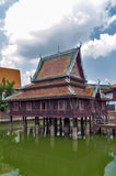 Ho Trai - Traditional Thai-style building used as a library that houses Buddhist scriptures Tripitakal at Wat Mahathat Temple. Ho Trai - Traditional Thai-style Stock Photo