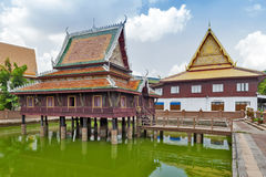 Ho Trai - Traditional Thai-style building used as a library that houses Buddhist scriptures Tripitakal at Wat Mahathat Temple. Ho Trai - Traditional Thai-style Stock Image