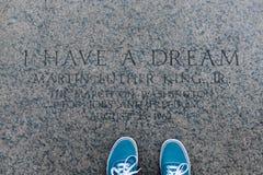 Ho un sogno, iscrizione, Lincoln Memorial Immagini Stock