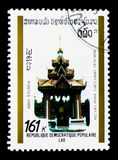 Ho vay phra, Vientiane, Historic Monuments serie, circa 1989. MOSCOW, RUSSIA - MARCH 18, 2018: A stamp printed in Lao People`s Democratic Republic shows Ho vay Stock Images