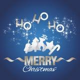 Ho-ho-ho vecteur de bleu d'éléments de Joyeux Noël Photographie stock libre de droits