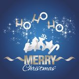 Ho-ho-ho vetor do azul dos elementos do Feliz Natal ilustração do vetor