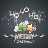 Ho-ho-ho vetor preto dos elementos de cor do Feliz Natal ilustração stock
