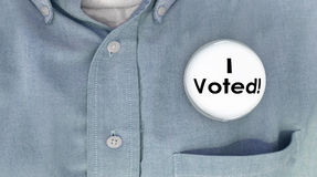 Ho votato la democrazia di Pin Shirt Election Voter Politics del bottone Fotografie Stock