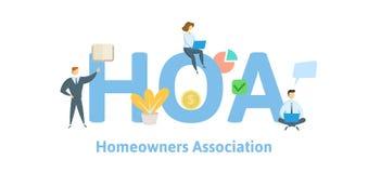 HOA, associação de proprietário Conceito com palavras-chaves, letras e ícones Ilustração lisa do vetor Isolado no branco ilustração stock