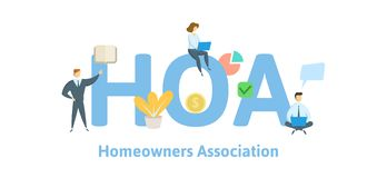 HOA, Homeowner Association. Concept with keywords, letters and icons. Flat vector illustration. Isolated on white. HOA, Homeowner Association. Concept with stock illustration
