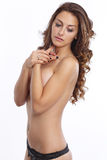 Hoad halv naken kvinna Fotografering för Bildbyråer