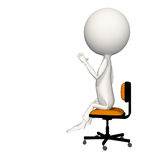 Hoagie with left hand up in air. Sitting on chair. View 3 stock illustration