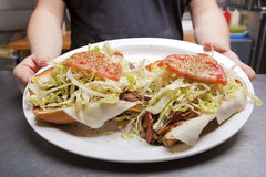 Hoagie Open Faced Submarine Sandwich on a plate Royalty Free Stock Photography