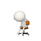 Hoagie upset or depressed on chair. View 2 stock illustration