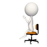 Hoagy con la mano izquierda para arriba en aire. El sentarse en silla stock de ilustración