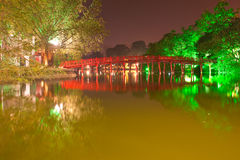 Hoan Kiem Lake, Ha Noi, Vietnam. Night shot of Red Bridge in Hoan Kiem Lake, Ha Noi, Vietnam Stock Photo