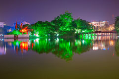 Hoan Kiem Lake, Ha Noi, Vietnam. Night shot of Red Bridge in Hoan Kiem Lake, Ha Noi, Vietnam Royalty Free Stock Photo