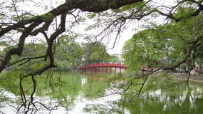 Hoan Kiem Lake, Ha Noi, Vietnam. Hoan Kiem Lake, The Huc Bridge, Ngoc Son Temple HaNoi, Vietnam Stock Image