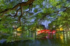 The Hoan kiem lake in Hanoi Royalty Free Stock Photography