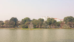 Hoan Kiem lake with the Tortoise Tower Royalty Free Stock Photo