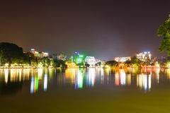 Hoan Kiem lake view at night with Ngoc Son old temple and The Huc bridge Stock Image
